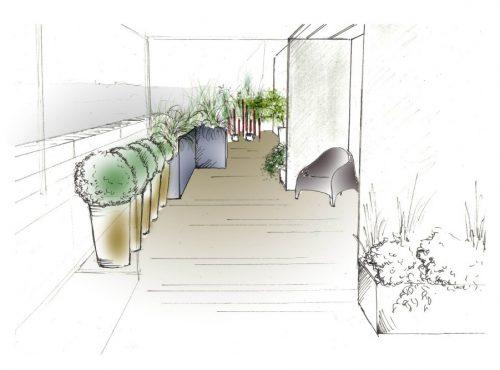 croquis plan terrasse jardin