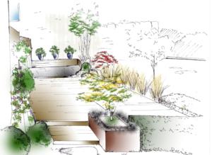 croquis jardin plan bordeaux
